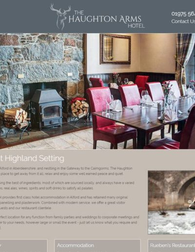 Aberdeen website designs produced this website for The Haughton Arms in Alford